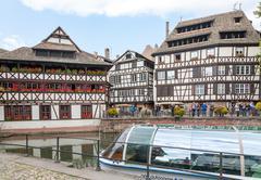 STRASBOURG, FRANCE - SEPTEMBER 26 2008: Strasbourg, water canal in Petite France Stock Photos