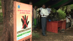 Stop Ebola poster in French (Mali) Stock Footage