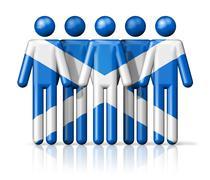 Flag of Scotland on stick figure - stock illustration