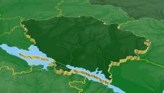Poltava - Ukraine region extruded. Bumps shaded Stock Footage