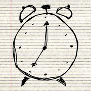 sketch drawing of a clock - stock illustration