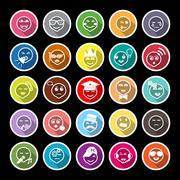 Face action line flat icons with long shadow Stock Illustration