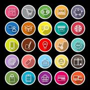 Internet entrepreneur line flat icons with long shadow Stock Illustration