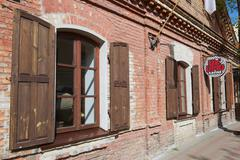 Exterior of the old brick building in Vilnius, Lithuania. - stock photo