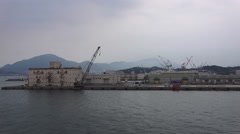 Seaport Harbor With Cranes In Shimonoseki Japan On Foggy Day Stock Footage