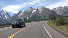 Grand Teton National Park mountain drive POV fast motion 4K Stock Footage