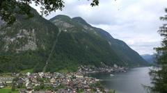 Hallstatt village austria full view from mountain position Stock Footage