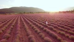 Beautiful Female Model Woman With White Dress Walking Through Lavender Field Stock Footage