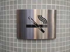 No smoking sign in stainless steel Stock Photos