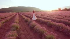 Aerial View Young Beautiful Woman Walking Through Lavender Field Flowers Love - stock footage