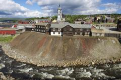 View to the copper mines town of Roros, Norway. Stock Photos