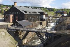 Exterior of the former copper smelter factory in Roros, Norway. Stock Photos
