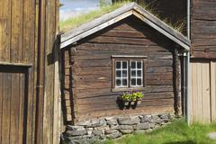 Traditional timber house of copper mines town of Roros, Norway. - stock photo