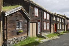 Traditional houses of the copper mines town of Roros, Norway. - stock photo