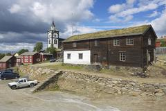 Traditional houses of the copper mines town of Roros, Norway. Stock Photos
