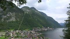 4k Hallstatt village austria full view from mountain position Stock Footage