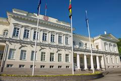 Exterior of the Presidential palace in Vilnius city, Lithuania. Stock Photos