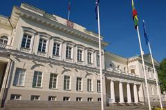 Exterior of the Presidential palace in Vilnius city, Lithuania. - stock photo