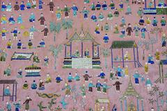 Elaborate mosaic at Xieng Thong temple in Luang Prabang, Laos. Stock Photos