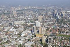 Aerial view of the Santiago city with smog, Santiago, Chile. - stock photo