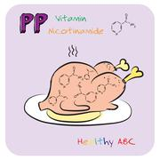 Healthy ABC: Vitamin PP - stock illustration