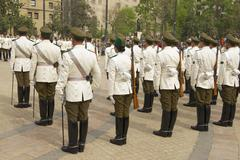 Changing guard ceremony at La Moneda presidential palace Santiago, Chile. - stock photo