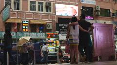 Umbrellas in Hong Kong shopping district 4K Stock Footage