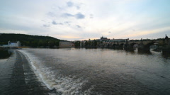 View of Vltava river with Charles bridge and Prague castle, Czech Republic Stock Footage
