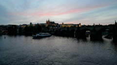 View of Vltava river with Charles bridge and Prague castle, Czech Republic Stock Footage