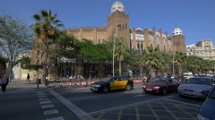 La Monumental arena on Gran Via in Barcelona Stock Footage