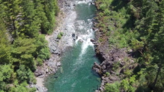 Aerial Flying High Above a Mountain River 9 Stock Footage
