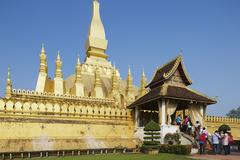Exterior detail of the Pha That Luang stupa, Vientiane, Laos. - stock photo