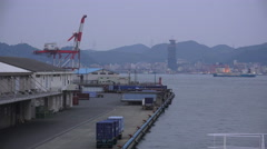 Seaport On Foggy Evening Shimonoseki Japan Stock Footage