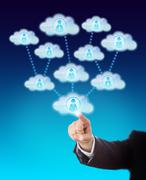 Stock Illustration of Accessing The Support Of Many Workers In The Cloud