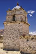 Beautiful Parinacota village church exterior, circa Putre, Chile. - stock photo