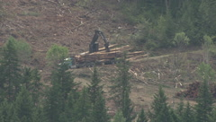 Logging truck loading up, extreme long lens, #1 Stock Footage