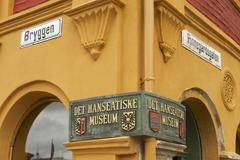Exterior sign of the Hanseatic museum entrance in Bergen, Norway. - stock photo