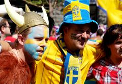 Sweden football fans portraits - stock photo