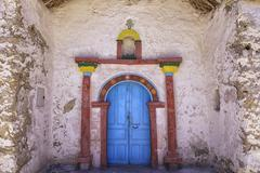 Exterior of the beautiful Parinacota village church, Putre, Chile. - stock photo