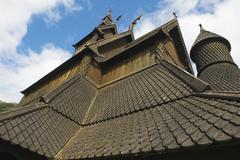 Exterior detail of the Hopperstad stave church in Vik, Norway. - stock photo