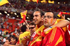 Group of Spanish Football Fans - stock photo