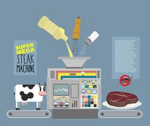 Super mega steak machine. Automatic line for  production of meat products bee - stock illustration