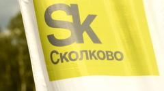 Flag of Skolkovo Innovation Center Stock Footage