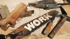 Work Word on the workbench - stock footage