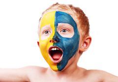 Little screaming football fan Stock Photos