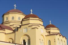 Orthodox church domes in Kamari, Santorini, Greece. Stock Photos