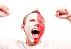 Emotional screaming  Poland fan Stock Photos
