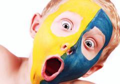 Closeup portrait screaming football fan Stock Photos