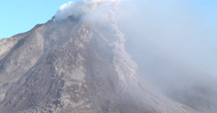 Pyroclastic Flow Forms During Eruption At Sinabung Volcano Stock Footage