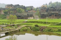 Exterior of the traditional Dong tribe village circa Rongshui, China. Stock Photos
